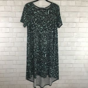 LuLaRoe Carly Dress, Black & Green Floral, Large